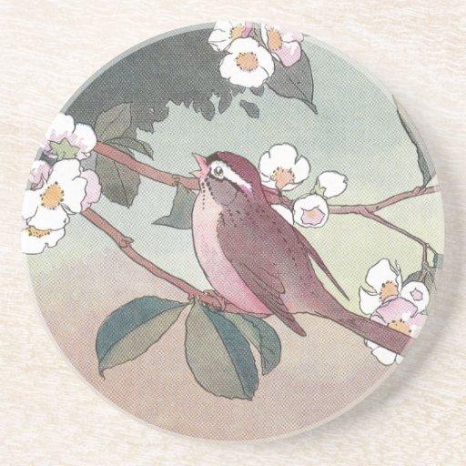 Sparrow in Flowering Apple Tree Beverage Coaster