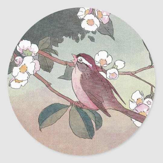 Sparrow in Flowering Apple Tree Classic Round Sticker