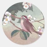 Sparrow in Flowering Apple Tree Round Sticker