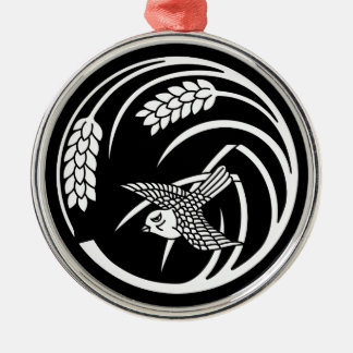 Sparrow in rice-plant circle metal ornament