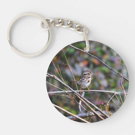 Sparrow in the Brush Keychain