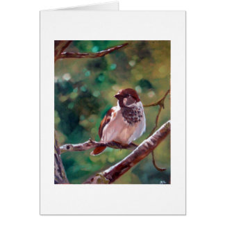 Sparrow in the trees card