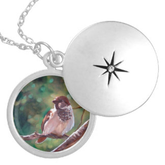 Sparrow in Trees Locket Necklace
