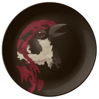 sparrow porcelain plate