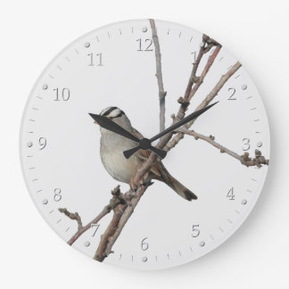 Sparrow on a Branch Large Clock