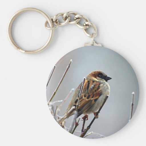 Sparrow on a Tree Branch Keychain