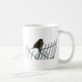 Sparrow on fence - photo coffee mug