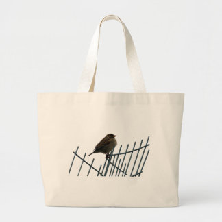 Sparrow on fence - photo large tote bag
