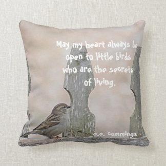 Sparrow on fence throw pillows