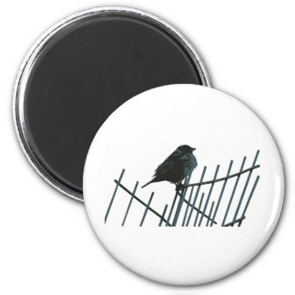 Sparrow on fence - Vector 2 Inch Round Magnet