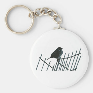 Sparrow on fence - Vector Basic Round Button Keychain