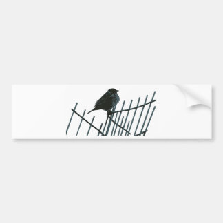Sparrow on fence - Vector Bumper Sticker