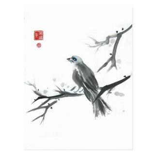 Sparrow on Winter Branch Art Postcard