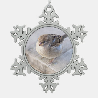 Sparrow - Overweight Snowflake Pewter Christmas Ornament