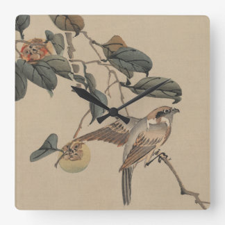 Sparrow Perched on Persimmon Tree Japanese Vintage Square Wallclocks