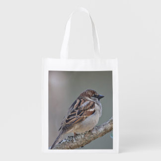 Sparrow photo reusable grocery bag