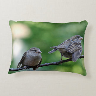 Sparrow photography accent pillow