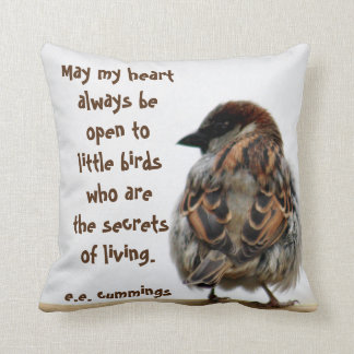 Sparrow photography throw pillow