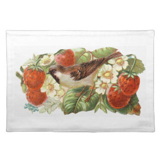 Sparrow & Red Strawberries - Vintage Illustration Placemat