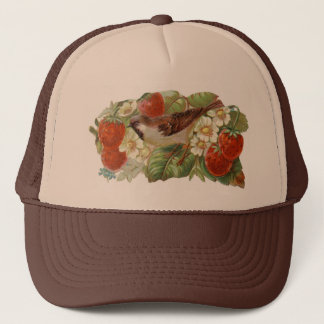 Sparrow & Red Strawberries - Vintage Illustration Trucker Hat