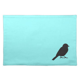 Sparrow silhouette chic blue swallow bird cloth placemat
