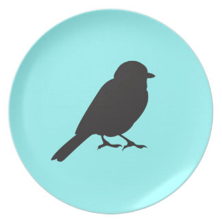 Sparrow silhouette chic blue swallow bird party plates