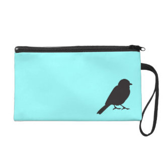 Sparrow silhouette chic blue swallow bird wristlet purse