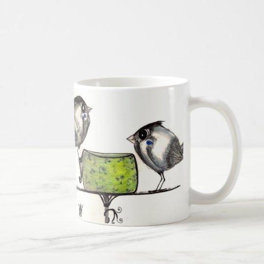 Sparrow Teatime Artwork with Poem - Cute whimsical Coffee Mug