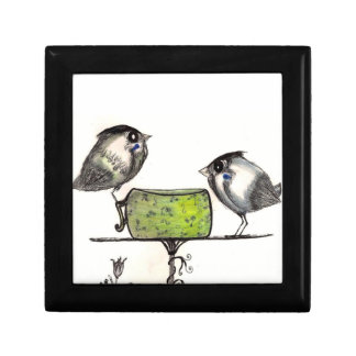 "Sparrow Teatime - Small (4.25"" x 4.25"") Jewelry/Gi Gift Box"