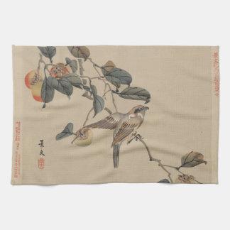 Sparrow Vintage Japanese Art Image Kitchen Towel