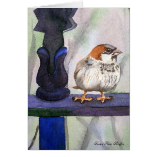 Sparrow watercolor painting greeting card