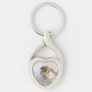 Sparrow - Weather Forecast Epic Fail Silver-Colored Heart-Shaped Metal Keychain