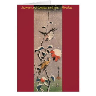 Sparrows and Camelias with Snow - Japanese Card