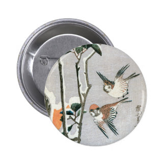Sparrows and Camellia in Snow by Ando Hiroshige Pinback Button