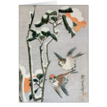 Sparrows and Camellia in Snow by Ando Hiroshige Greeting Card