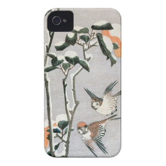 Sparrows and Camellia in Snow by Ando Hiroshige iPhone 4 Case-Mate Case
