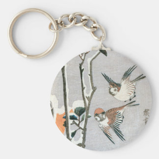Sparrows and Camellia in Snow by Ando Hiroshige Basic Round Button Keychain