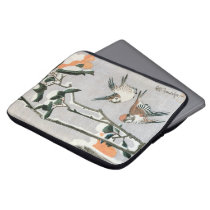 Sparrows and Camellia in Snow by Ando Hiroshige Laptop Sleeve