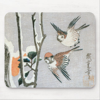 Sparrows and Camellia in Snow by Ando Hiroshige Mouse Pad