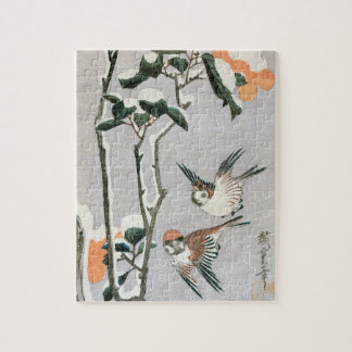 Sparrows and Camellia in Snow by Ando Hiroshige Jigsaw Puzzles