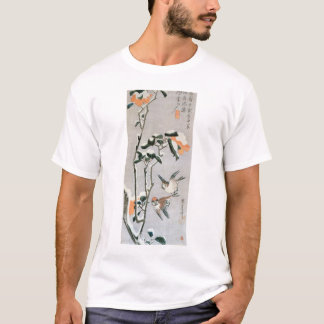 Sparrows and Camellia in Snow by Ando Hiroshige T-Shirt