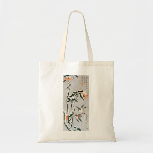 Sparrows and Camellia in Snow by Ando Hiroshige Tote Bag