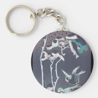 Sparrows and Camellias in the Snow circa 1830's Basic Round Button Keychain