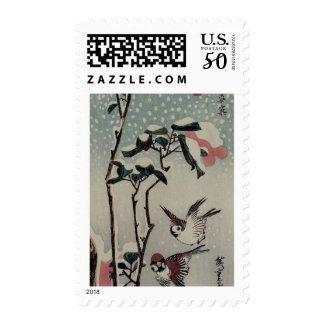 Sparrows and Camellias in the Snow circa 1830's Postage