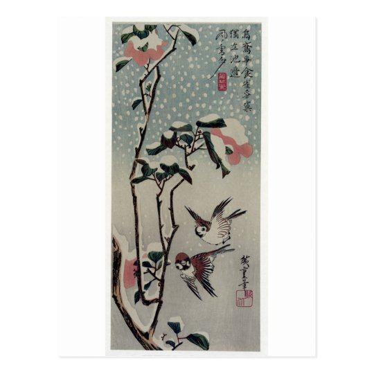 Sparrows and Camellias in the Snow. Japan. Postcard