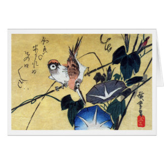 Sparrows and Morning Glory Hiroshige Greeting Card