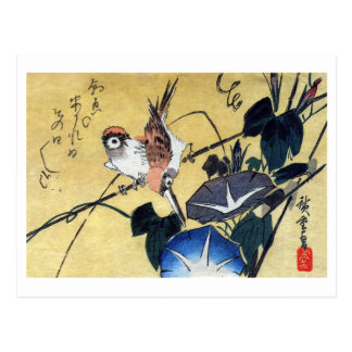 Sparrows and Morning Glory Hiroshige Post Card
