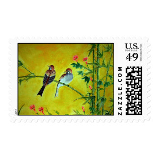 Sparrows and Morning Glorys Postage