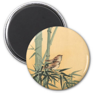 Sparrows on bamboo tree by Ohara Koson 2 Inch Round Magnet