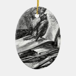 Sparrows on Sketchbook Ceramic Ornament